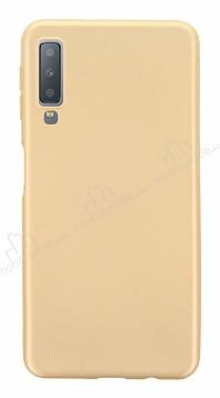 Samsung Galaxy A7 2018 Mat Gold Silikon Kılıf