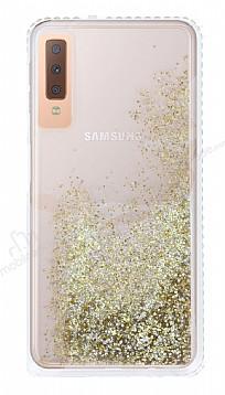Samsung Galaxy A7 2018 Simli Sulu Gold Rubber Kılıf