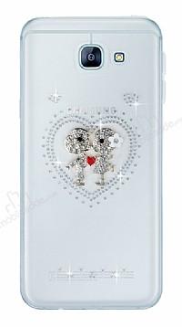 Samsung Galaxy A8 2016 Taşlı Love Şeffaf Silikon Kılıf