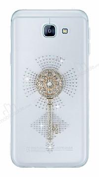 Samsung Galaxy A8 2016 Taşlı Anahtar Şeffaf Silikon Kılıf