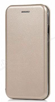 Samsung Galaxy A8 2018 Curve Manyetik Kapaklı Gold Deri Kılıf