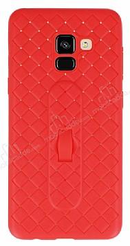 Samsung Galaxy A8 2018 Selfie Yüzüklü Hasır Desenli Kırmızı Silikon Kılıf