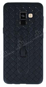 Samsung Galaxy A8 2018 Selfie Yüzüklü Hasır Desenli Siyah Silikon Kılıf