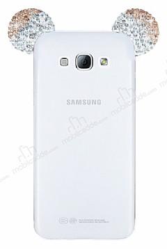 Samsung Galaxy A8 Taşlı Kulaklı Gold Silikon Kılıf