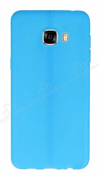 Samsung Galaxy C5 Deri Desenli Ultra İnce Mavi Silikon Kılıf