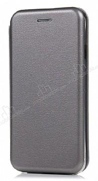 Samsung Galaxy C7 Pro Curve Manyetik Kapaklı Silver Deri Kılıf