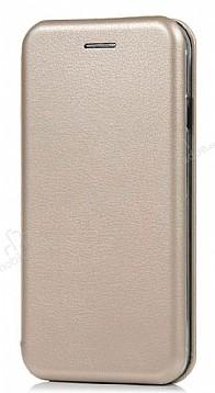 Samsung Galaxy C7 Pro Curve Manyetik Kapaklı Gold Deri Kılıf