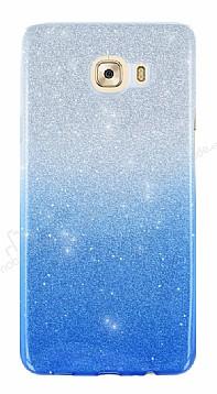 Samsung Galaxy C7 Pro Simli Mavi Silikon Kılıf