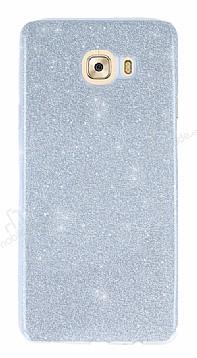 Samsung Galaxy C7 Pro Simli Silver Silikon Kılıf