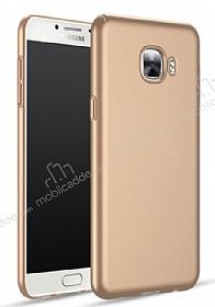 Samsung Galaxy C7 Pro Tam Kenar Koruma Gold Rubber Kılıf