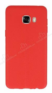 Samsung Galaxy C7 SM-C7000 Deri Desenli Ultra İnce Kırmızı Silikon Kılıf