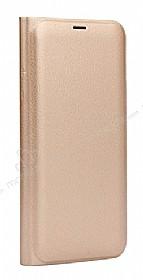 Samsung Galaxy C9 Pro Cüzdanlı Yan Kapaklı Gold Deri Kılıf