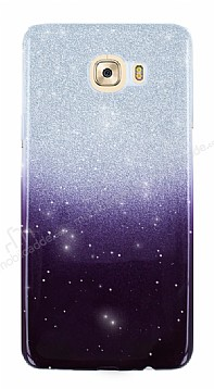 Samsung Galaxy C9 Pro Simli Siyah Silikon Kılıf