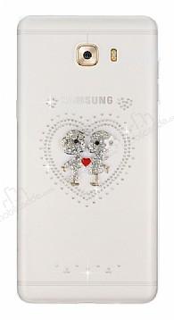 Samsung Galaxy C9 Pro Taşlı Love Şeffaf Silikon Kılıf