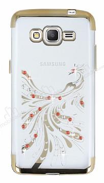 Samsung Galaxy Grand Prime / Prime Plus Gold Peacock Taşlı Şeffaf Silikon Kılıf