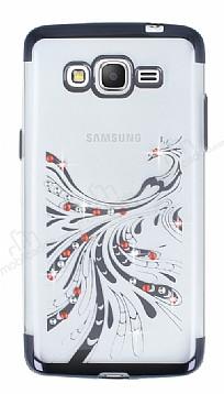 Samsung Galaxy Grand Prime / Prime Plus Siyah Peacock Taşlı Şeffaf Silikon Kılıf