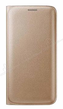 Samsung Galaxy J2 Cüzdanlı Yan Kapaklı Gold Deri Kılıf