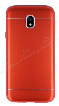 Samsung Galaxy J3 2017 Silikon Kenarlı Metal Kırmızı Kılıf