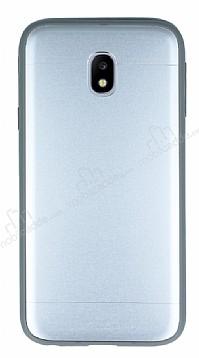Samsung Galaxy J3 Pro 2017 Silikon Kenarlı Metal Silver Kılıf