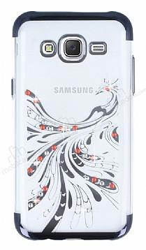 Samsung Galaxy J5 Siyah Peacock Taşlı Şeffaf Silikon Kılıf