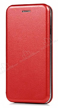 Samsung Galaxy J5 Pro 2017 Curve Manyetik Kapaklı Kırmızı Deri Kılıf