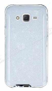 Samsung Galaxy J5 Şeffaf Beyaz Simli Silikon Kılıf