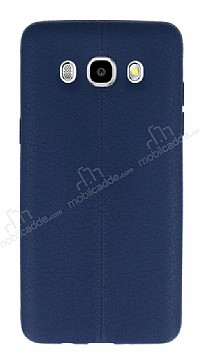 Samsung Galaxy J7 2016 Deri Desenli Ultra İnce Lacivert Silikon Kılıf