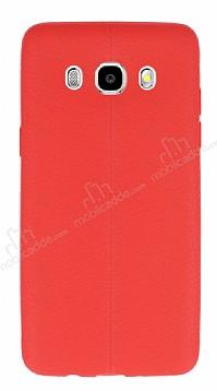 Samsung Galaxy J7 2016 Deri Desenli Ultra İnce Kırmızı Silikon Kılıf