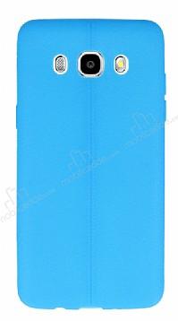 Samsung Galaxy J7 2016 Deri Desenli Ultra İnce Mavi Silikon Kılıf