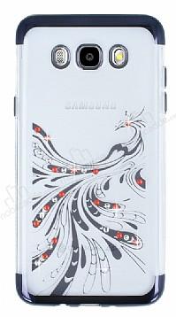 Samsung Galaxy J7 2016 Siyah Peacock Taşlı Şeffaf Silikon Kılıf