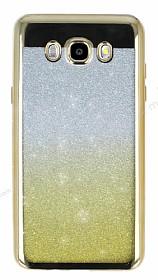 Samsung Galaxy J7 2016 Simli Parlak Gold Silikon Kılıf