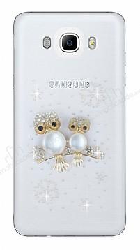 Samsung Galaxy J7 2016 Taşlı Baykuş Şeffaf Silikon Kılıf