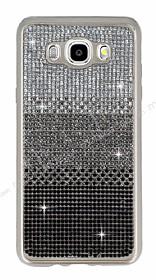 Samsung Galaxy J7 2016 Taşlı Geçişli Siyah Silikon Kılıf