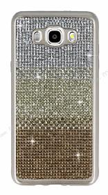 Samsung Galaxy J7 2016 Taşlı Geçişli Gold Silikon Kılıf