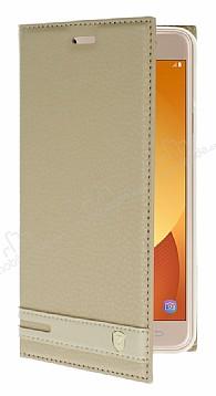 Samsung Galaxy J7 Max Gizli Mıknatıslı Yan Kapaklı Gold Deri Kılıf