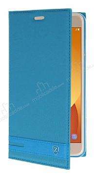 Samsung Galaxy J7 Max Gizli Mıknatıslı Yan Kapaklı Mavi Deri Kılıf