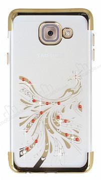 Samsung Galaxy J7 Max Gold Peacock Taşlı Şeffaf Silikon Kılıf