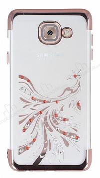 Samsung Galaxy J7 Max Rose Gold Peacock Taşlı Şeffaf Silikon Kılıf
