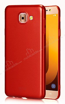 Samsung Galaxy J7 Max Tam Kenar Koruma Kırmızı Rubber Kılıf
