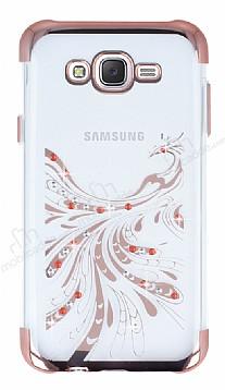 Samsung Galaxy J7 / Galaxy J7 Core Rose Gold Peacock Taşlı Şeffaf Silikon Kılıf