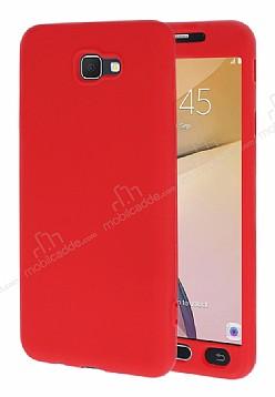 Samsung Galaxy J7 Prime 360 Derece Koruma Likit Kırmızı Silikon Kılıf