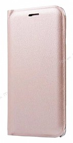 Samsung Galaxy J7 Prime Cüzdanlı Yan Kapaklı Gold Deri Kılıf