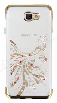 Samsung Galaxy J7 Prime Gold Peacock Taşlı Şeffaf Silikon Kılıf