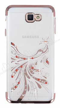 Samsung Galaxy J7 Prime Rose Gold Peacock Taşlı Şeffaf Silikon Kılıf