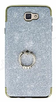 Samsung Galaxy J7 Prime Selfie Yüzüklü Simli Silver Silikon Kılıf