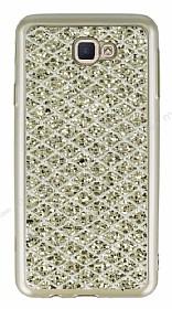 Samsung Galaxy J7 Prime Simli Kumaş Gold Silikon Kılıf