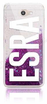 Samsung Galaxy J7 Prime / J7 Prime 2 Kişiye Özel Simli Sulu Mor Rubber Kılıf