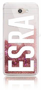 Samsung Galaxy J7 Prime / J7 Prime 2 Kişiye Özel Simli Sulu Rose Gold Rubber Kılıf