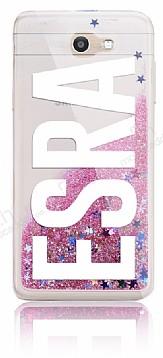 Samsung Galaxy J7 Prime Kişiye Özel Simli Sulu Pembe Rubber Kılıf