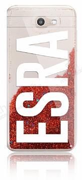 Samsung Galaxy J7 Prime Kişiye Özel Simli Sulu Kırmızı Rubber Kılıf